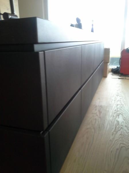 k che eiche echt leder schwarz 2 k chen wohnm bel. Black Bedroom Furniture Sets. Home Design Ideas